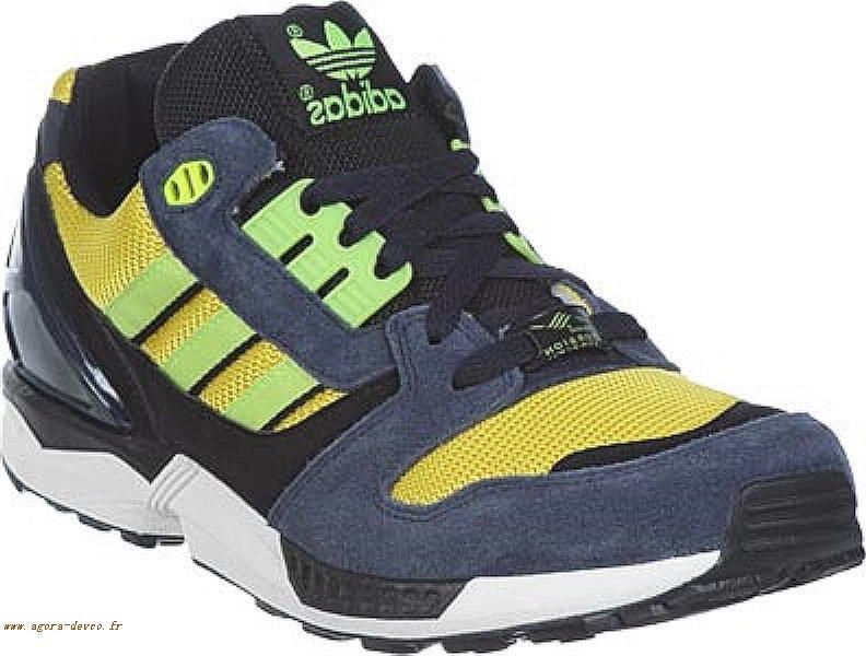 best sneakers b0312 2e7ed Chaussure Adidas Bleu Jaune Homme Noir ZX 8000 YUN QMsn