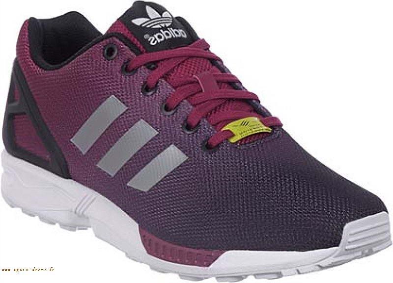lowest price e6f3d 43fb6 Chaussures Adidas Pourpre Rouge Homme Noir ZX Flux LOOK- ddu0RO